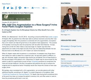 plastic surgeon, rhinoplasty, chin implant, facial plastic surgery, Dr. Ali Sepehr